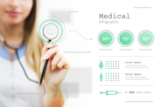 Infográfico com foto de mulher médico