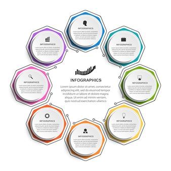 Infográfico com hexágonos dispostos em um círculo