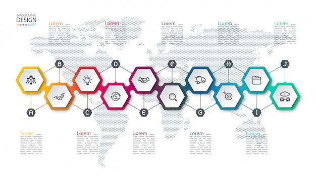 Infográfico com hexágonos no mapa