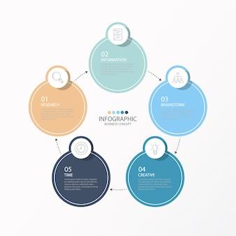 Infográfico com ícones de linha fina