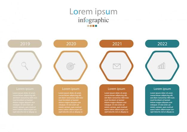 Infográfico com ícones e 4 opções ou etapas.