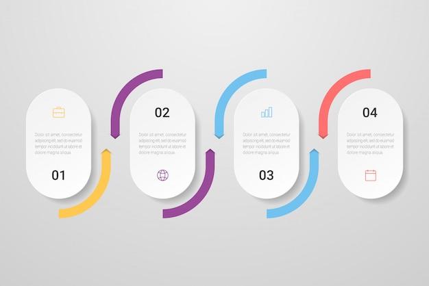 Infográfico com ícones e quatro opções ou etapas. pode ser usado para apresentações, fluxogramas, sites, banners, materiais impressos. ilustração.