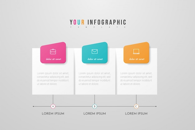 Infográfico com ícones e três opções ou etapas. conceito de negócio infográficos. pode ser usado para gráficos de informação, fluxogramas, apresentações, sites, banners, materiais impressos.