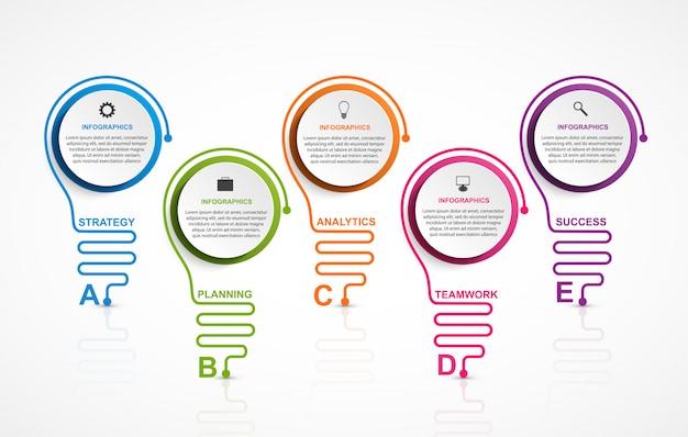 Infográfico com lâmpadas multi-coloridas.