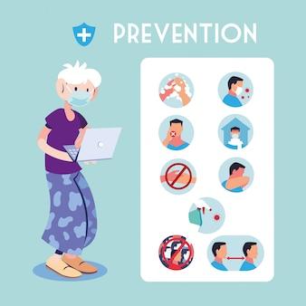 Infográfico com medidas de prevenção para proteção do coronavírus
