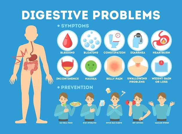 Infográfico com problemas intestinais. diarréia e dor de estômago, prisão de ventre e náuseas. prevenção de doenças digestivas. ilustração Vetor Premium