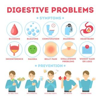 Infográfico com problemas intestinais. diarréia e estômago