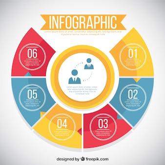 Infográfico com seis opções coloridas