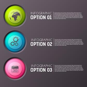 Infográfico com três opções de parágrafos de texto editável e ícone de círculo apropriado