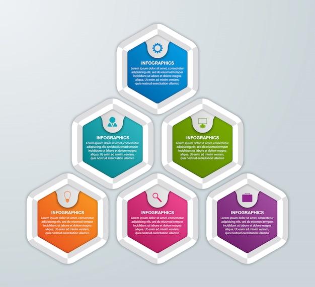 Infográfico composto por seis hexágonos