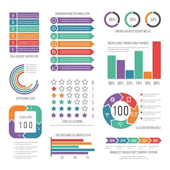 Infográfico. conjunto de diagrama de marketing de fluxo de trabalho moderno