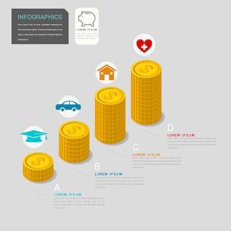 Infográfico contemporâneo com elementos gráficos de moedas