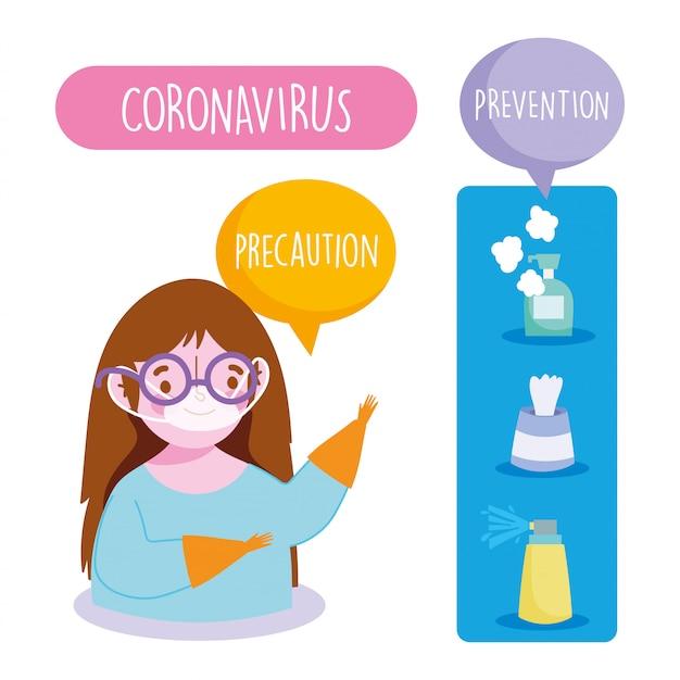 Infográfico covid 19 coronavírus, menina com máscara médica, spray de prevenção