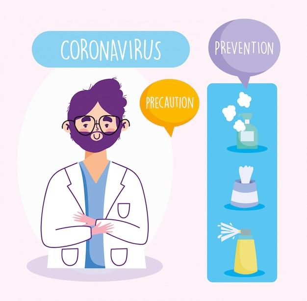 Infográfico covid 19 de coronavírus, equipe profissional médica, dicas de prevenção