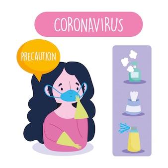 Infográfico covid 19 de coronavírus, garota de precaução com luvas de máscara e recomendações de prevenção