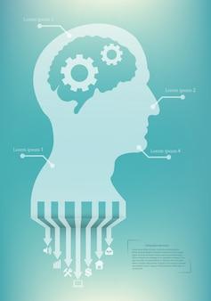 Infográfico criativo com cabeça de silhueta.