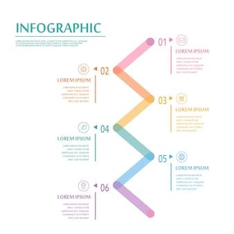 Infográfico criativo com elementos coloridos de linhas finas