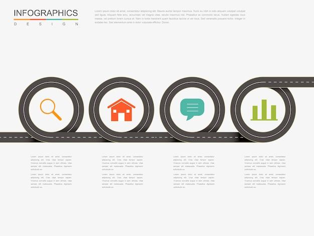 Infográfico criativo com elementos de estrada plana