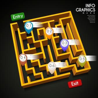 Infográfico criativo com elementos de labirinto 3d