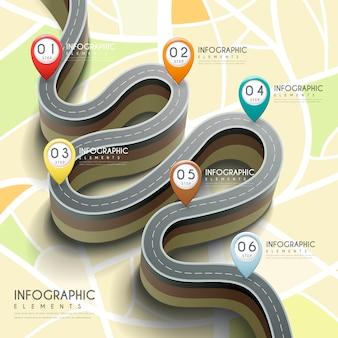 Infográfico criativo com estrada de dobra 3d e marcadores