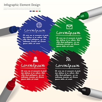 Infográfico criativo de marca de caneta na lousa.