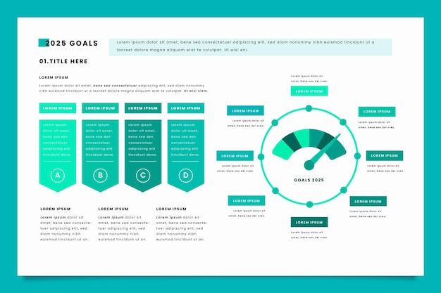 Infográfico criativo de metas azuis