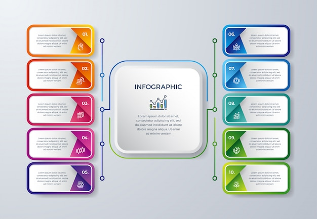Infográfico criativo design com 10 opções de processo ou etapas.