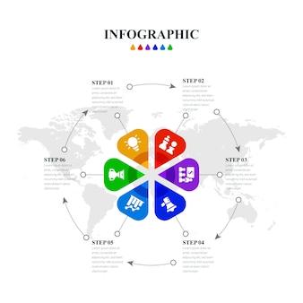 Infográfico criativo minimalista com seis etapas