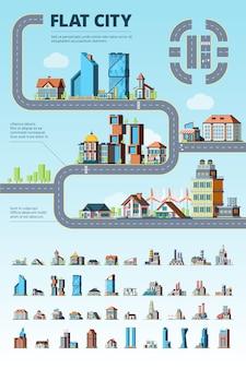 Infográfico da cidade. cityscape edifícios municipais estrada urbana elementos arquitetônicos criação kit