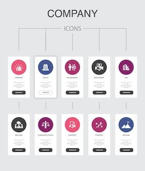 Infográfico da empresa design de interface de usuário de 10 etapas. escritório, investimento, reunião, ícones simples de contrato