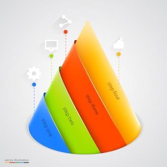 Infográfico da pirâmide. modelo de design.