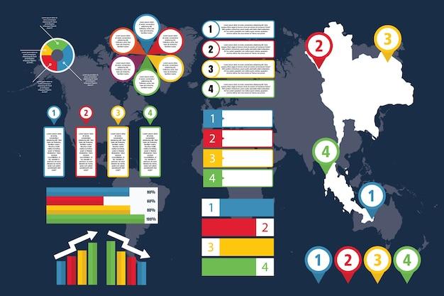 Infográfico da tailândia com mapa para negócios e apresentação