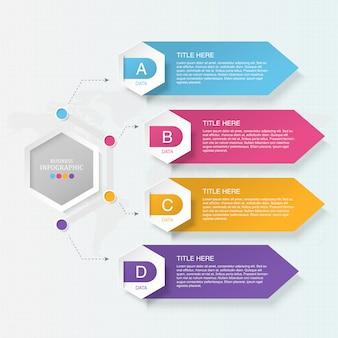 Infográfico de 4 elemento para o conceito de negócio.