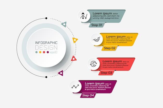 Infográfico de 4 etapas de trabalho.