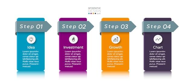 Infográfico de 4 etapas. Vetor Premium