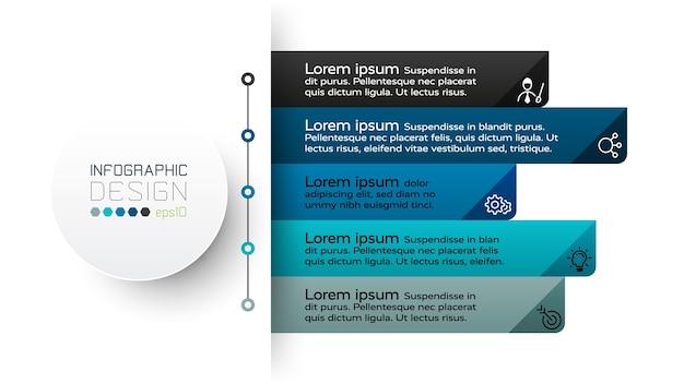 Infográfico de 5 etapas de trabalho.