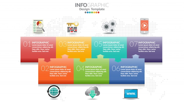 Infográfico de 7 partes do conceito de negócio com opções, etapas ou processos.