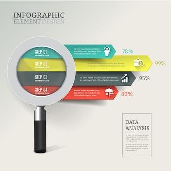 Infográfico de análise de dados de lupa criativa.