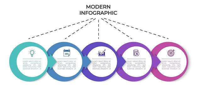 Infográfico de apresentação de modelo de infográficos modernos com cinco seções
