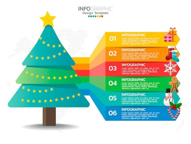 Infográfico de árvore de natal com cores de decoração e opção.