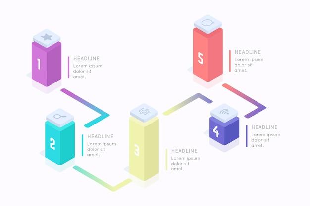 Infográfico de barras 3d coloridas