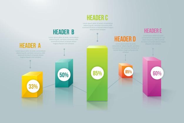 Infográfico de barras 3d colorido com porcentagem