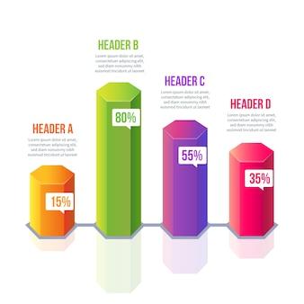 Infográfico de barras 3d colorido com texto