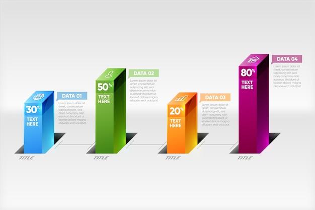 Infográfico de barras 3d modelo