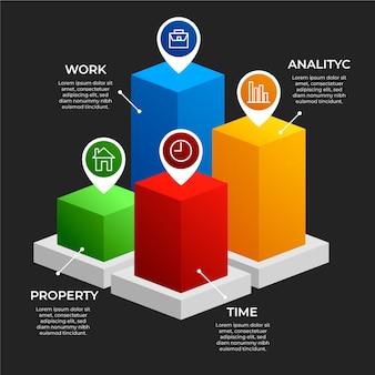 Infográfico de barras 3d