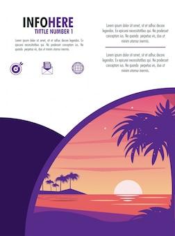Infográfico de brochura de praia e viagem
