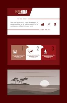Infográfico de brochura de praia e viagens