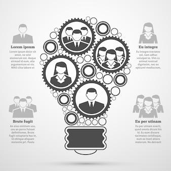 Infográfico de bulbo de composição de equipe de negócios