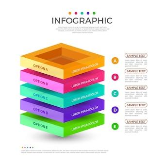 Infográfico de camadas de bloco 3d