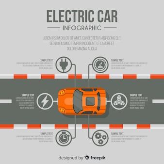 Infográfico de carro elétrico de vista superior